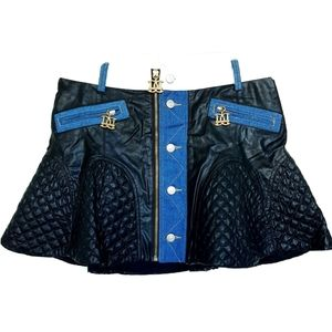 DSquared2 Black Quilted Leather Skirt
